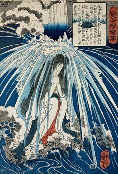 Utagawa Kuniyoshi . Hatsuhana prays under a waterfall, c. 1842. Colour woodblock, oban, 36.4 x 24.8cm.  American Friends of the British Museum (The Arthur R. Miller Collection) 15606.