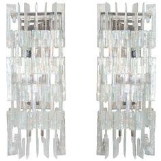 Pair of Custom Opalescent C Link Glass Sconces | 1stdibs.com