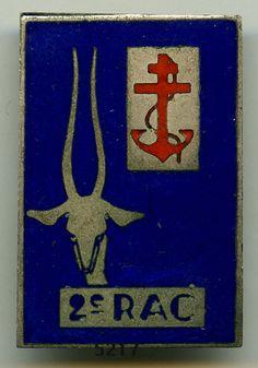 Insigne artillerie coloniale , 2 RAC. / FFL.