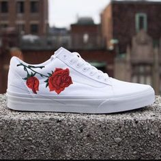 Custom Vans Old Skool White Embroidered Rose 😍🌹 Vans Shoes Fashion, Women's Shoes, Vans Slip On Shoes, Custom Vans Shoes, Hype Shoes, Sock Shoes, Me Too Shoes, Shoe Boots, Quinceanera Shoes
