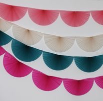 Vintage vanilla  paper fan garland