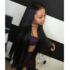 Middle Part Silk Straight Indian Virgin Hair Natural Black Human Hair Glueless Full Lace Wigs With Baby Hair Around