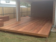 Decking with timber seats. Just needs oiling and we are done.