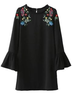 Black Floral Embroidery Ruffle Detail Bell Sleeve Dress