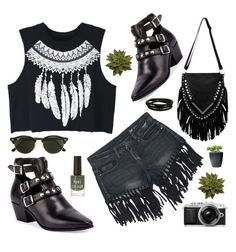 """""""Untitled #2723"""" by deeyanago ❤ liked on Polyvore featuring WithChic, Sans Souci, Yves Saint Laurent, Ray-Ban, Porsche Design and fringe"""