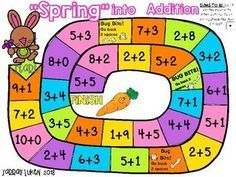 """Spring"" into Addition Board Games for Math by Sarrah Luken Kindergarten Games, Preschool Activities, Space Activities, Addition Games, Math Addition, Math For Kids, Fun Math, Imprimibles Toy Story Gratis, Lego Math"