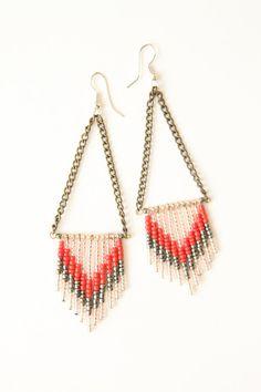 Chevron seed bead earrings, dusty rose gray, by heidiroland