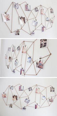 Geniale DIY-Idee mit Kordel oder Draht für eure Foto-Wand! #pintowingofeminin