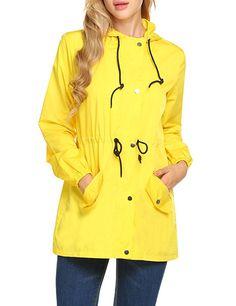 Fancyqube Womens Lightweight Packable Outdoor Hooded Windproof Jacket Waterproof Coat Windbreaker