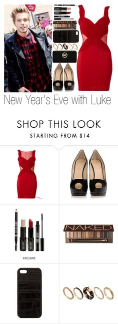 """""""New Year's Eve with Luke"""" by sassy-queen01 ❤ liked on Polyvore featuring Lipsy, Giuseppe Zanotti, Lord & Berry, Urban Decay, The Case Factory, River Island and Michael Kors"""