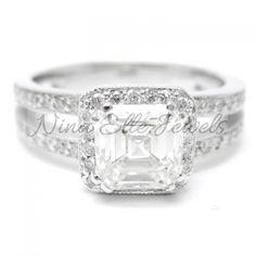 1.75ctw Asscher Cut Split Shank Diamond Engagement Ring