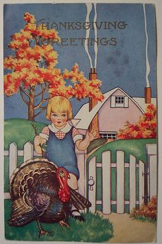 Vintage Thanksgiving Day Postcard by riptheskull, via Flickr