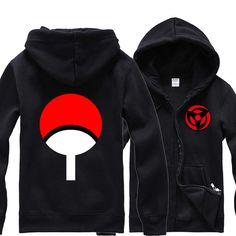 New Anime Naruto Sasuke Sharingan Logo Hoodie Hooded Sweatshirt Cotton Sweater