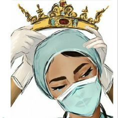 Had to share this beautiful image of a true hero. Loving the crown, totally deserved. ❤️👑 ***I couldn't find the artists name, Bravo👏 to the creator of this image. Art Sketches, Art Drawings, Nurse Art, Medical Art, Medical School, Art Plastique, Black Art, Beautiful Images, Line Art