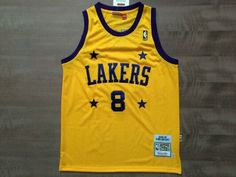 c44408184 NBA LAKERS 8 KOBE BRYANT STREET BASKETBALL 4 STARS MESH YELLOW T SHIRT  JERSEY US 67