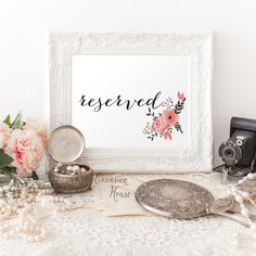 Printable Floral Reserved Sign, Wedding Reserved sign, wedding sign, reception sign, Reserved wedding sign, Instant Download, WB12r by OccasionHouse on Etsy