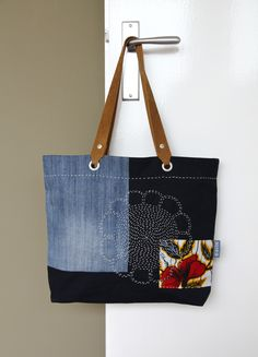 ...a new member in the family: the medium tote bag meets sashiko by Daisy van Groningen. #reuseddenim #sashiko #AfricanWax #totebag #indigo #slowfashion #upcycle #handmade #dutchdesign