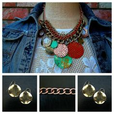 Checkout this amazing product Hammered Metal Multi-Color Circle Necklace    at Shopintoit
