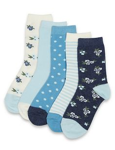 5 Pairs of Ditsy Floral Socks Clothing