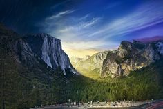 """The sun shines through California's Yosemite Valley, where John Muir once said 'nature's peace will flow into you as sunshine into trees"""". John Muir, Sierra Nevada, Us National Parks, Yosemite National Park, Night Photography, Landscape Photography, Photography Ideas, Passion Photography, Photographie National Geographic"""