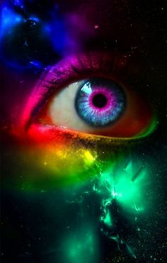 """Rainbow eyes """"Abandon the search for truth- settle for a good fantasy"""" Pretty Eyes, Cool Eyes, Beautiful Eyes, Rainbow Eyes, Rainbow Colors, Aesthetic Eyes, Crazy Eyes, Look Into My Eyes, Magic Eyes"""