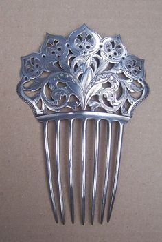 Sterling Silver Hair Comb Ornate Dominick and Haff Hair Accessory from spanishcomb on Ruby Lane Hair Jewelry, Bridal Jewelry, Jewellery, Vintage Hair Combs, Hair Sticks, Hair Ornaments, Bridal Hair Accessories, Hair Barrettes, Silver Hair