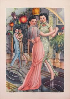 Shanghai 1930s pin pin ups asian print ad color illustration cheongsam qipao dress green blue pink gown