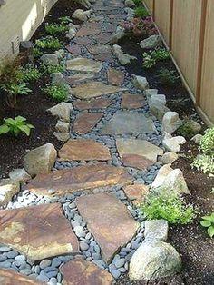 Rock Garden Design, Design Jardin, Garden Stepping Stones, Front Yard Landscaping, Landscaping Ideas, Walkway Ideas, Backyard For Kids, Garden Paths, Garden Projects
