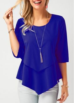 Spring o-neck Half Sleeve Chiffon Blouse solid color loose casual shirt elegant summer Casual Skirt Outfits, Mode Outfits, Trendy Outfits, Trendy Fashion, Fashion Outfits, Ladies Fashion, Womens Fashion, Style Fashion, Stylish Tops For Girls