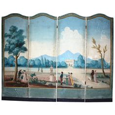 French Directoire Period Painted Wallpaper Screen | From a unique collection of antique and modern screens and room dividers at https://www.1stdibs.com/furniture/more-furniture-collectibles/screens/