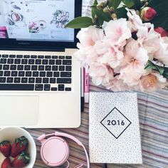 Monday mornings, strawberries,blogging vibes, fresh flowers, beats, pins, @lauramallison94