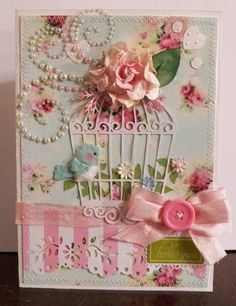 Birdcage card--extremely elaborate, I don't know if I would have the patience haha