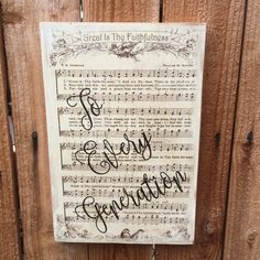Vintage Hymnal Music Photo Transfer with vinyl text overlay by singingheartdesigns on Etsy