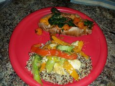 Chicken Vegetable Medley over Quinoa and side dish Sweet Baked Potato topped with Sauteed in Coconut Oil Carrots, Shallots, Spinach, and Kale.