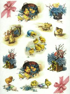 Ricepaper/Decoupage paper, Scrapbooking Sheets Vintage Easter Chicks