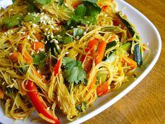 Curried Vermicelli Noodles w/ Veg, vegan, GF