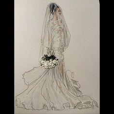 Bellucio- @belluccio @weddedwonderland @thebridalbazaar #bridaldesigner #beautifulbride #bridalillustration For illustration enquiry- please contact- karenorrillustration@gmail.com