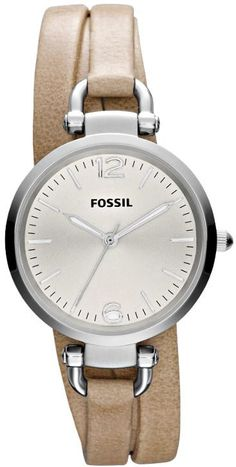 $88 Ladies Fossil Watches - Georgia Brown Triple Wrap Leather Ladies Watch