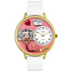 Whimsical Watches Women's G0620040 Unisex Gold Nurse Red White Skin Leather And Goldtone Watch Whimsical Watches. $40.99. Japanese quartz movement. Plastic crystal; gold tone stainless steel case; leather strap. Nurse design. Gold tone second hand. Comes in gift box