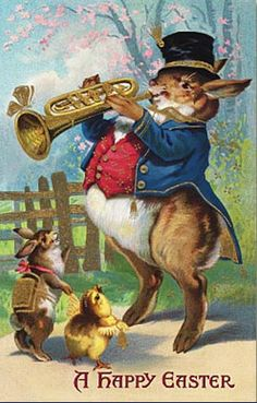 Giant Horn-Playing Rabbit Impresses Tiny Chick and Bunny ~ Vintage Easter Card