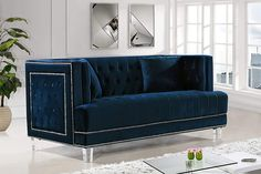 Elevate your living room while adding modern style with the Meridian Furniture Inc Lucas Velvet Loveseat . Silver nailhead trim and button tufting accent. Furniture, Velvet Loveseat, Sofa Styling, Modern Tufted Sofa, Love Seat, Sofa, Meridian Furniture, Sofa Set, Usa Furniture