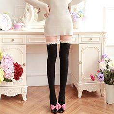 Vollter Señora de las mujeres algodón caliente de alta del muslo medias largas de lana sobre la rodilla de encaje de chicas Calcetines