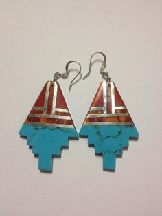 Turquoise Red Coral Earrings Navajo Sterling Silver 925 Blue Vintage Tribal Native American Inlay USA Southwestern Jewelry Dangly Boho Gift on Etsy, $58.00