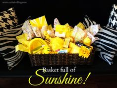Get Well Soon Gift:  Basket full of Sunshine Yellow Goodies via Curb Alert! www.curbalertblog.com