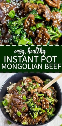 This healthy instant pot mongolian beef and broccoli recipe is such an easy, healthy weeknight meal idea! This recipe can be made in under 30 minutes and it's tasty, healthy and kids will love it. for dinner healthy easy Healthy Instant Pot Mongolian Beef Mongolian Beef And Broccoli Recipe, Beef And Brocolli, Brocolli Recipes, Mongolian Recipes, Chicken Recipes, Healthy Broccoli Recipes, Crockpot Mongolian Beef, Healthy Tasty Recipes, Vegan Recipes