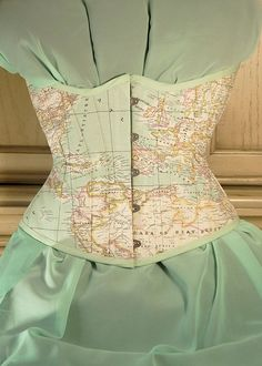 World Map Corset Underbust by RetroFolie Mint pastel by RetroFolie  When my body is ready. ahhhh <3