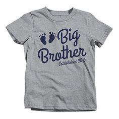 6c0e786fd Boy's Big Brother Shirt Established 2015 Baby Feet T-Shirt Cute Promoted