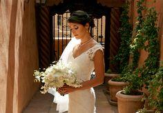 La Terraza's Garden Patio creates a picturesque backdrop for a beautiful summer bride