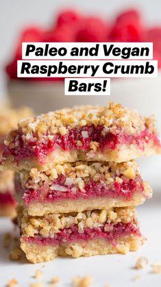 Paleo Sweets, Paleo Dessert, Healthy Dessert Recipes, Gluten Free Desserts, Dairy Free Recipes, Healthy Treats, Healthy Desserts, Vegan Recipes, Raspberry Desserts