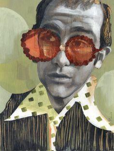 Portrait of Elton John - 11x14 Archival Art Print by Scott Laumann. $45.00, via Etsy.